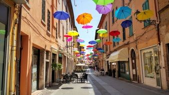 Umbrella Decoration on old street, italy, Ferrara