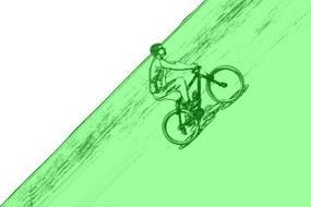 cyclist on the mountain as a graphic image