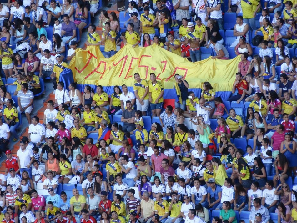 Colombian fans with a banner at the Santiago Bernabeu Stadium in Madrid