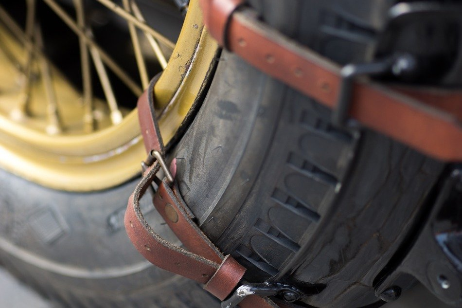 leather belts on a wheel close-up