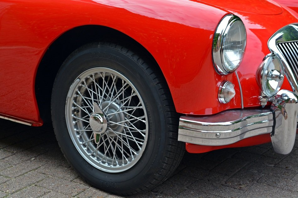 Oldtimer Mga, Classic Red car, detail