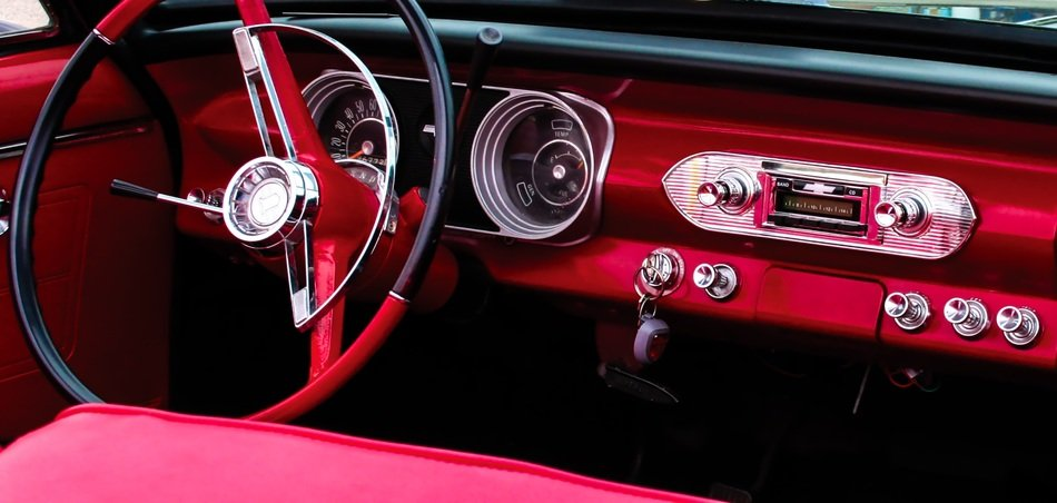 luxury red oldtimer Car Dashboard