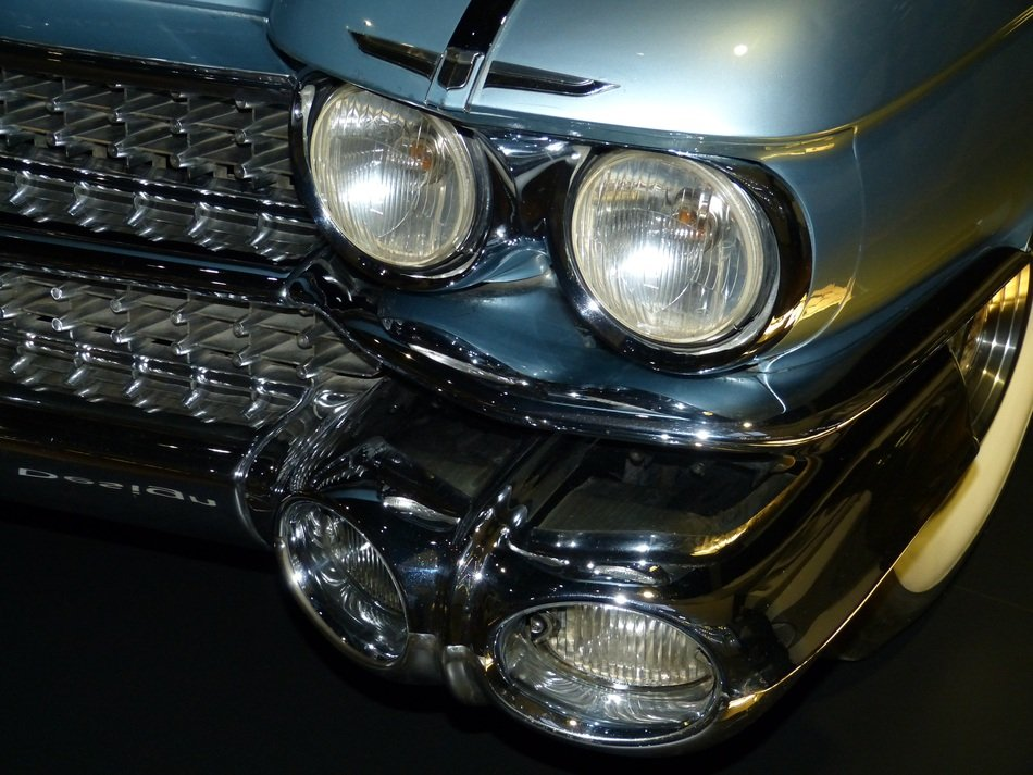 front lights of an old Cadillac