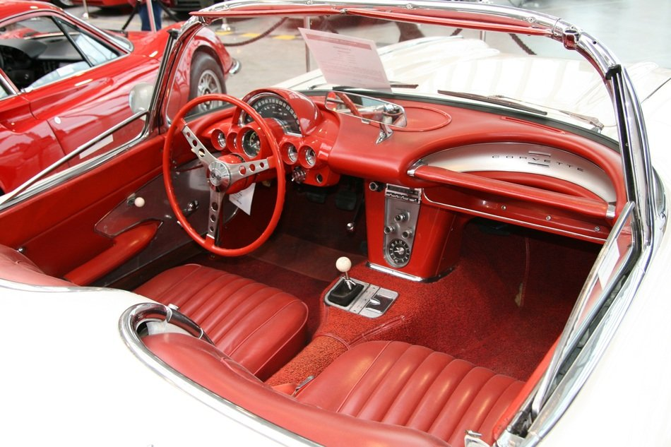 Leather interior of a classic car