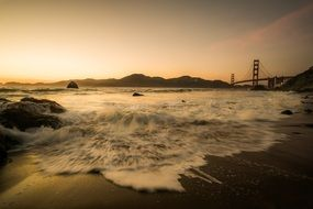 Golden Gate Bridge in the peaceful evening