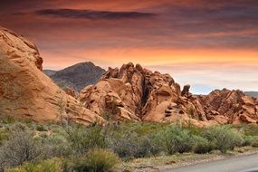 road along the rocks in nevada