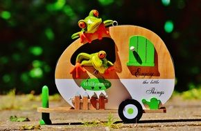 frogs in a travel trolley