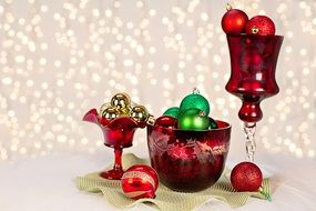bright Christmas decorations in dishes