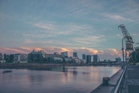 panorama of the port of hamburg at sunset