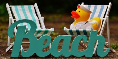 rubber duck on the sun lounger