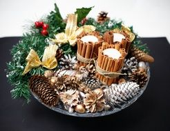 Christmas Decorations and gifts in the bowl