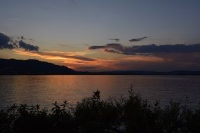sunset over the lake in zurich