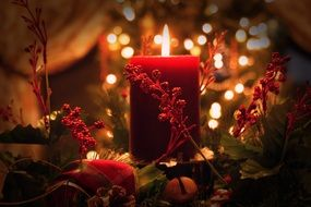 Christmas red Candle in romantic lighting