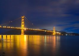 distant view of the Golden Gate Bridge at night