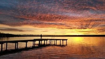 sunset over lake Ammersee in bavaria
