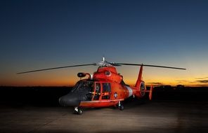 Eurocopter MH-65 Dolphin against the night sky