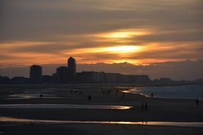 picturesque coast at sunset in Ostend