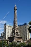 eiffel tower near casino in las vegas