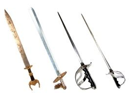 four steel swords on a white background