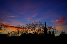 colorful sunset over ulm cathedral, germany, munich