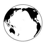 planet earth as a black and white graphic image