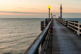 long pier on Sea at evening, germany, Wustrow