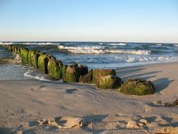 breakwater on the coast of the Baltic Sea