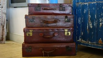 brown old suitcases