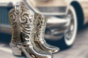 silver cowboy boots close up