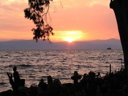 pink-purple sky over Lake Tiberias, Israel