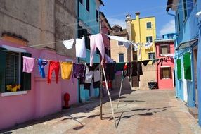 clothesline on a street in venice