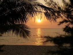 peaceful sunset on the beach in phu quoc