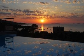 mirror image of a sunset in corsica