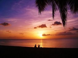 sunset on guadeloupe beach