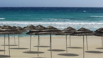 beach umbrellas on the nissi beach