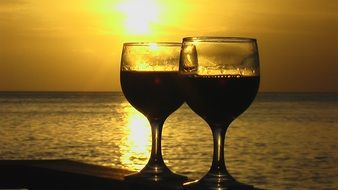 Wine at the sunset