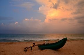 Landscape of the beach in Sri Lanka at the sunset