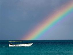 rainbow over the waters of the caribbean