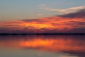 excellent Sunset over calm water, usa, maryland, chesapeake bay