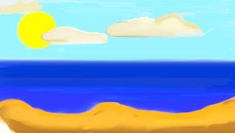 Beautiful cartoon landscape with the ocean