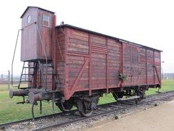 wagon of Holocaust train in Auschwitz