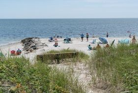 holidaymakers on Cape Cod beach