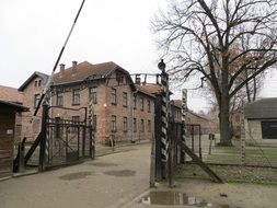 gates in Auschwitz