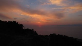 sunset over the mediterranean coast of greece