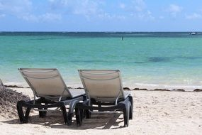 sun loungers on the beach in punta cana