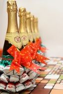champagne bottles decorated with sweets