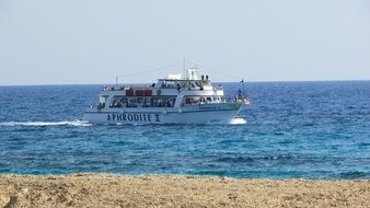 cruise ship sailing along the coast of Cyprus