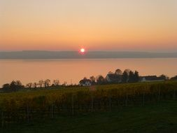 calm sunset above lake constance at fall, germany, Birnau