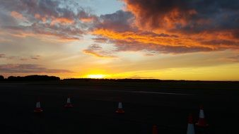 sunset over the airport in lincolnshire