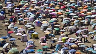Colorful parasols on a beach
